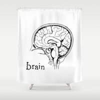 brain Shower Curtains featuring Brain by Etiquette