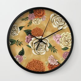Gold luxury floral Wall Clock