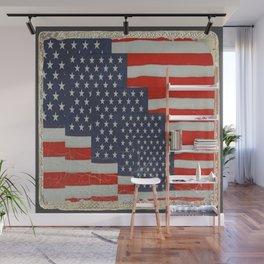 Patriotic Americana Flag Pattern Art Wall Mural