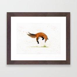 Jumping Jack Fox - animal watercolor painting Framed Art Print