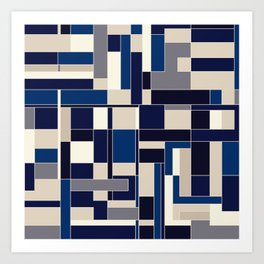 Blue abstract city Art Print