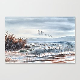 Duck Hunting For Canvasbacks Canvas Print