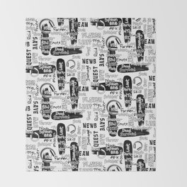 Gamer Lingo-White and Black Throw Blanket