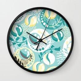 Light Teal Marble Balls Wall Clock