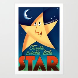 Twinkle twinkle little star vintage French style Art Print