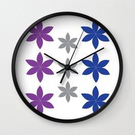 Cool Colors Flower Art Wall Clock
