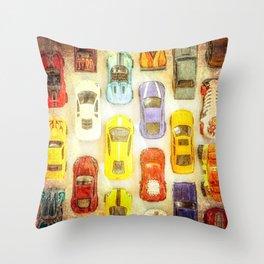 Vintage Toy Cars Throw Pillow