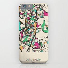 Colorful City Maps: Jerusalem, Israel iPhone Case