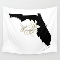 florida Wall Tapestries featuring Florida Silhouette by Ursula Rodgers