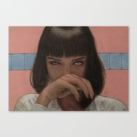 mia wallace Canvas Prints featuring Mia Wallace by Steve Nice