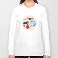 scandinavian Long Sleeve T-shirts featuring Scandinavian retro moose pattern by Little Smilemakers Studio