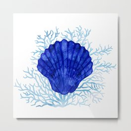 Seashell on coral - watercolors Metal Print