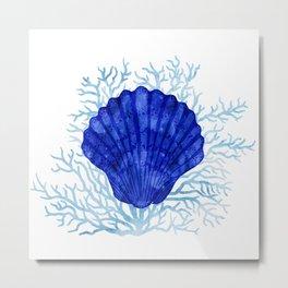 Seashell on coral - watercolors Metal Print