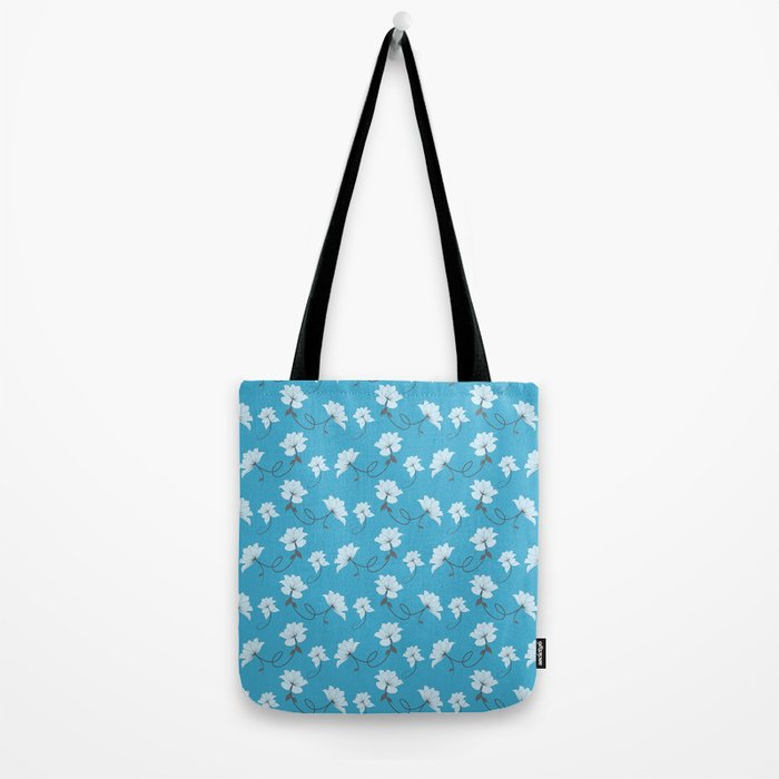 White Flowers on Blue background, floral pattern Tote Bag