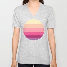 Pink & Orange Colorful Sunset Pattern Stripes Unisex V-Neck