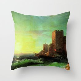 The Tower Classical Masterpiece by Ivan Constantinovich Aivazovsky Throw Pillow
