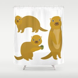 Set of funny Gopher ground squirrel with acorn on white background. Vector illustration Shower Curtain