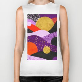 Terrazzo galaxy purple orange gold Biker Tank