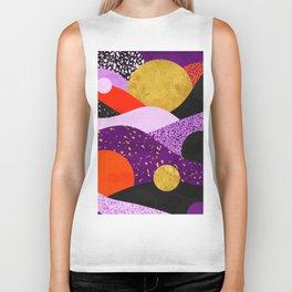 Terrazzo galaxy purple orange gold Biker Tank