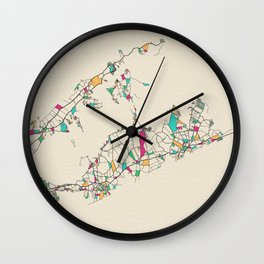 Colorful City Maps: The Hamptons, Long Island Wall Clock