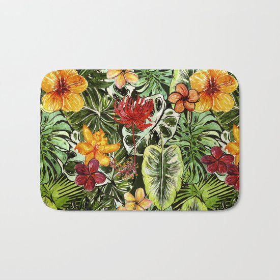 Tropical Vintage Exotic Jungle Flower Flowers - Floral watercolor pattern1on #Society6 Bath Mat