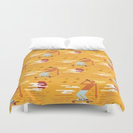 Skateboarders Holiday Pattern Duvet Cover