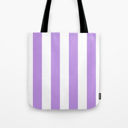 Vertical Stripes - White and Light Violet Tote Bag