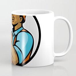 African American Electrician Lightning Bolt Mascot Coffee Mug