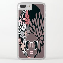 Afro Diva : Sophisticated Lady Pale Pink Peach Taupe Clear iPhone Case
