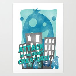 Attack of the giant creature  Art Print
