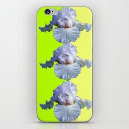 SNOW WHITE SPRING IRIS  GREEN-YELLOW  FLOWERS ART iPhone Skin