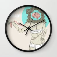 brain Wall Clocks featuring Brain ! by UNCOMMON Graphic Design