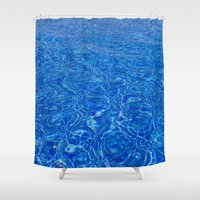 pool Shower Curtains featuring Pool Water by Jessica Torres Photography
