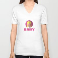 spice girls V-neck T-shirts featuring BABY SPICE by Chilli Cactus