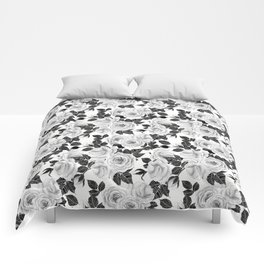 Wite roses watercolor pattern Comforters