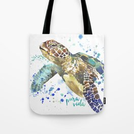 Sea Turtle Pura Vida Watercolor Tote Bag