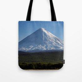Stunning autumn view of active Klyuchevskoy Volcano on Kamchatka Peninsula on sunny day Tote Bag