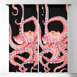 Red Octopus Tentacles Dance Watercolor Black Blackout Curtain