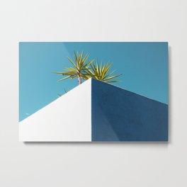 Cactus blue white Metal Print