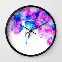 Abstract modern bright  pink purple blue watercolor splatters paint Wall Clock