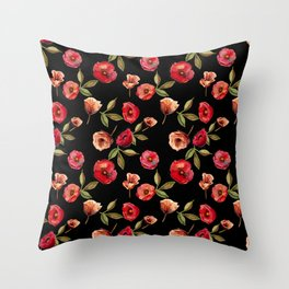 Hot Black Floral Moods Throw Pillow