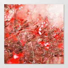 Bright Coral Floral Canvas Print