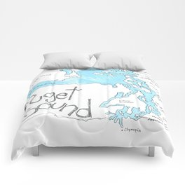 Puget Sound by Seattle Artist Mary Klump Comforters