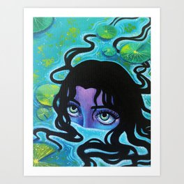 Pond Girl Art Print