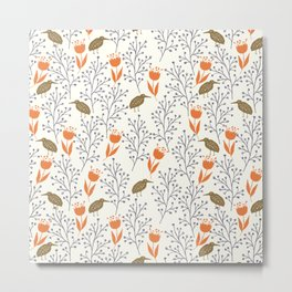 Orange & Green Rustic Nature Pattern Metal Print