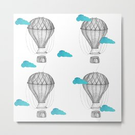 Graphite drawing hot air balloons pattern Metal Print