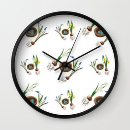 Easter flowers and birds nest pattern Wall Clock