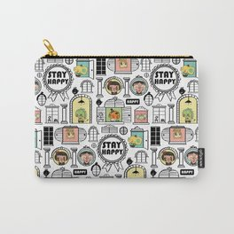 Pattern Stay Happy Animals Carry-All Pouch