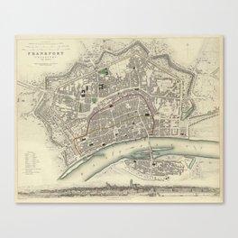 Vintage Map of Frankfurt Germany (1837) Canvas Print