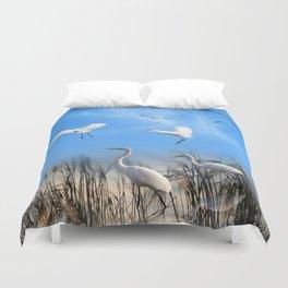 White Egrets in a Morning 1 Duvet Cover